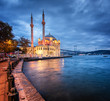 canvas print picture - Amazing sunrise at ortakoy mosque in istanbul, Turkey