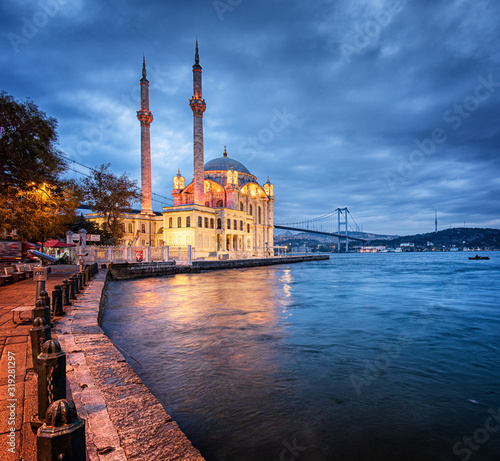 Amazing sunrise at ortakoy mosque in istanbul, Turkey Canvas Print