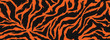 Tiger stripes pattern, animal skin, line background. Vector seamles texture