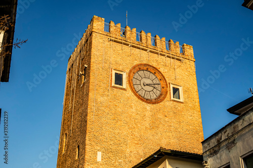 View on the medieval tower with clock in Mestre, Veneto - Italy