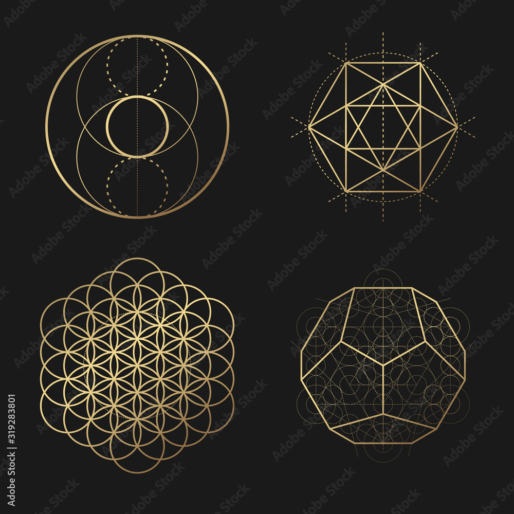 Fototapeta Sacred geometry golden vector design elements collection