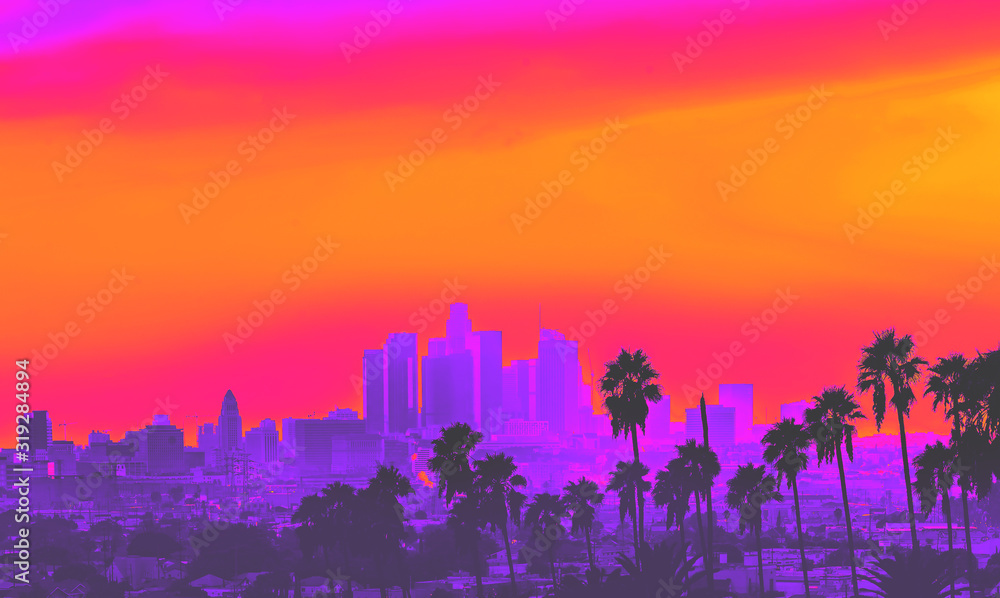 Fototapeta Downtown Los Angeles skyline at sunset with palm trees in the foreground synth wave style