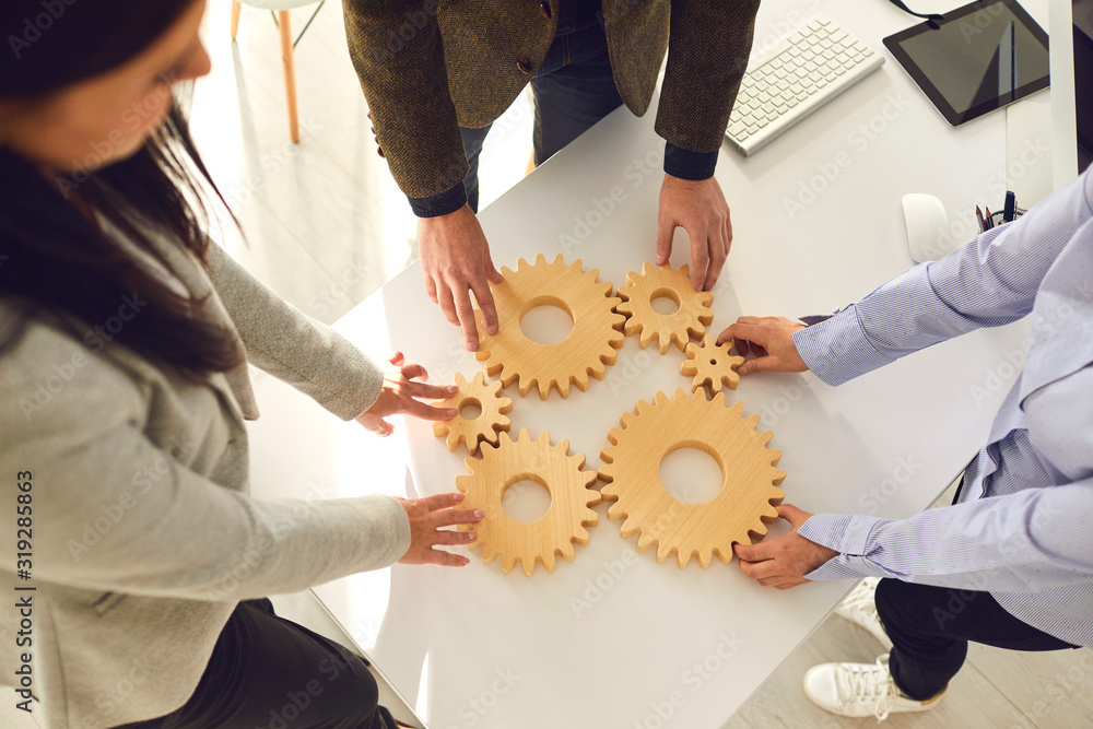 Fototapeta A group of business people holds wooden wheels with teeth in their hands on an office white table.