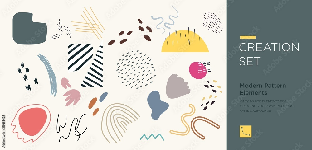 Fototapeta Set of abstract trendy hand drawn shapes and design elements. Pattern Creation set