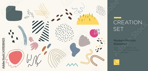 Cuadros en Lienzo Set of abstract trendy hand drawn shapes and design elements