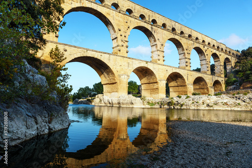 Pont du Gard aqueduct, Provence, France - view at sunset Wallpaper Mural