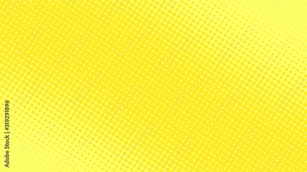 Bright yellow pop art background in retro comic style with halftone dot design, vector illustration eps10 <span>plik: #319291896 | autor: stock_santa</span>