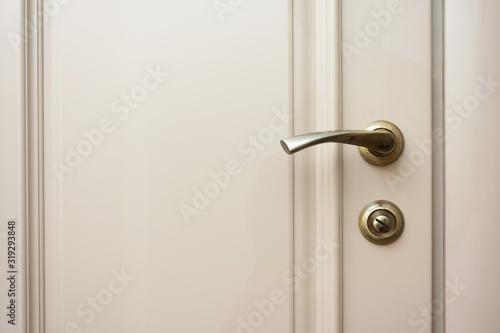 Fototapeta Grey door to the house, door handle, copy space obraz