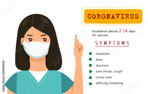 List of coronavirus symptoms with lady in mask Canvas Print