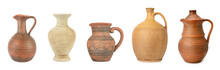 Set Clay And Ceramic Jugs Isol...