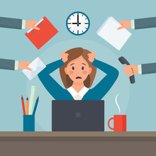 Stressed Multitasking Business Woman At Workplace. A Lot Of Things To Do In One Moment. Cartoon Flat Style. Vector Illustration