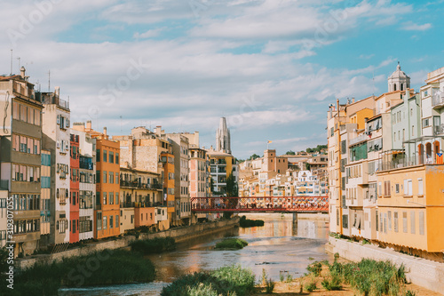 Landscape of Girona city, Catalonia, Spain, summer vacation in Europe