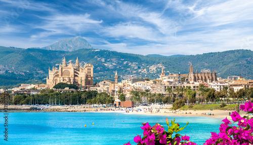 Fényképezés Landscape with beach and Palma de Mallorca town, Spain