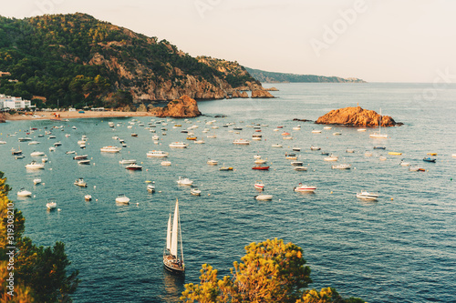 Beautiful landscape of Tossa de Mar, Costa Brava, Spain Poster Mural XXL