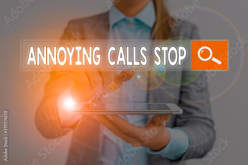 Photo Handwriting text Annoying Calls Stop