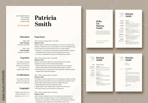 Fototapeta Resume and Cover Letter Layout with Tan Accents obraz