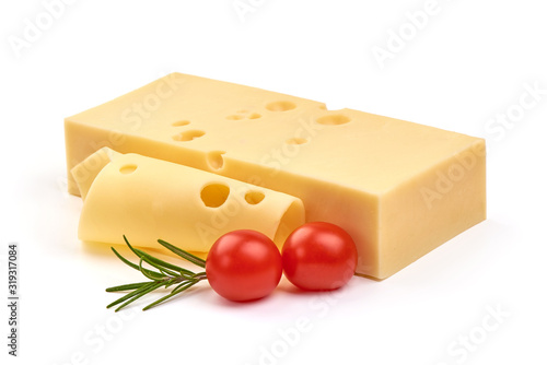Cuadros en Lienzo Emmental cheese, Swiss cheese, isolated on white background