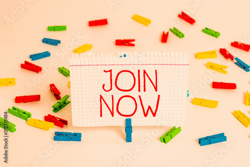 Writing note showing Join Now Canvas Print
