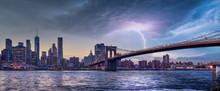 New York City Skyline Travel Destination At Dramatic Sunset Over Manhatten
