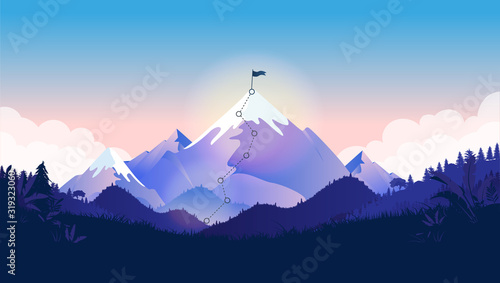 Fototapety, obrazy: Flag on mountain top. Majestic mountain with trail to the top in a beautiful landscape. Metaphor for great business challenge to overcome before success and reach your goals. Vector illustration.