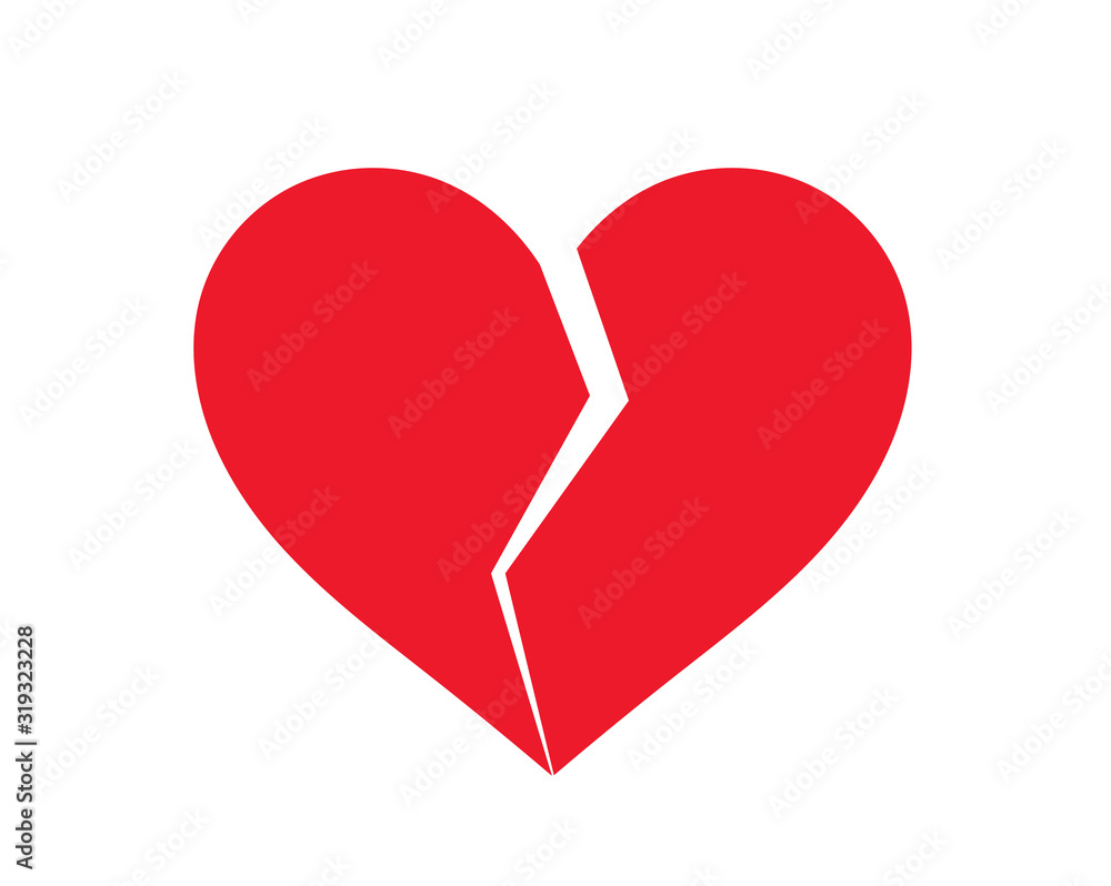 Fototapeta Red broken heart icon.
