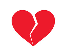 Red Broken Heart Icon.