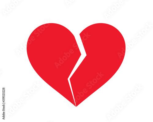 Cuadros en Lienzo Red broken heart icon.