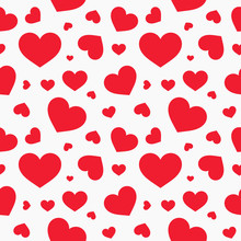 Cute Red Hearts Seamless Textu...