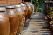 Thai Style Water Jars. Row Of ...