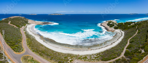 Aerial panoramic view of the road adjacent to Salmon beach which is located in E Canvas Print