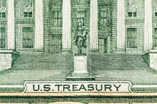 Macro Close Up Photograph Of The US Treasury Building On The US Ten Dollar Bill.
