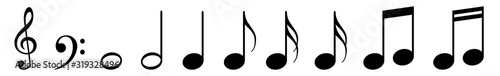 Fotografía Music Notes Icon Black | Note Illustration | Clef Symbol | Sound Logo | Tone Sig