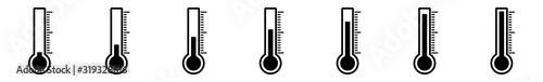 Thermometer Icon Black | Temperature Scale Symbol | Instrument Logo | Warm Cold Wallpaper Mural
