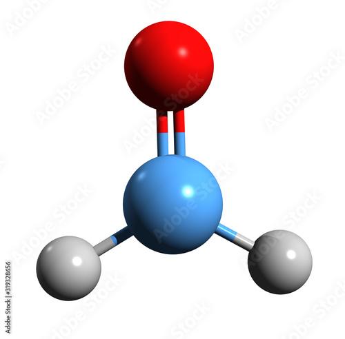3D image of formaldehyde skeletal formula - molecular chemical structure of form Canvas Print
