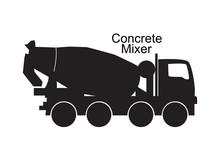 Concrete Mixer Truck Black Sil...