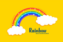 Rainbow With Clouds On Yellow ...