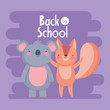 back to school education koala and squirrel