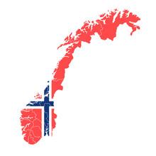 ノルウェー  国旗 地図 アイコン