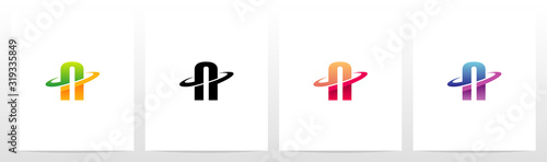 Valokuva Swoosh Graphic On Letter Logo Design N