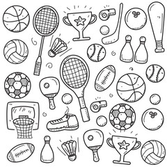 Set of sports doodle vector illustration in cute hand drawn style