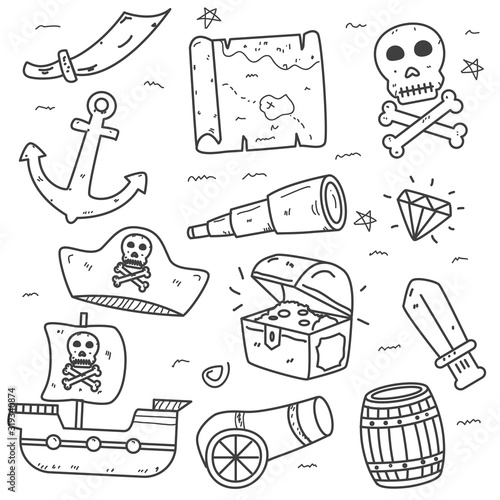 Set of pirate doodle elements vector illustration in cute hand drawn style isola Fototapete