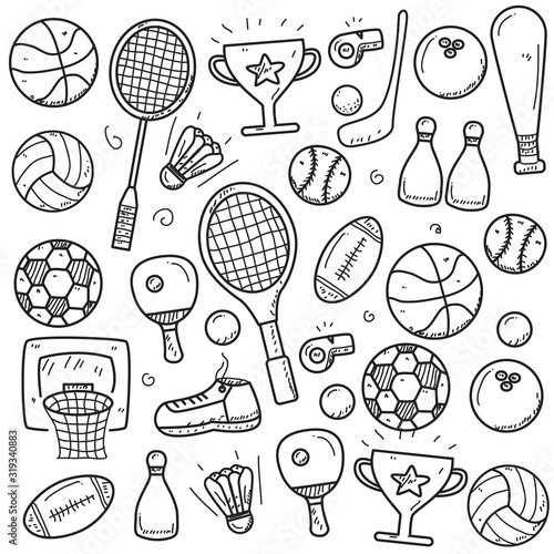 Obrazy Sporty z Piłkami  set-of-sports-doodle-vector-illustration-in-cute-hand-drawn-style