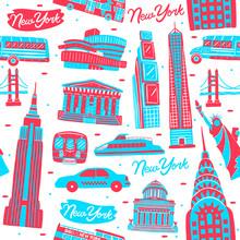 Illustration Of Seamless Pattern New York City Landmark With Flat Design Style.