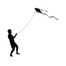 A Boy Is Playing The Kite Silh...