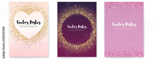 Fotografie, Obraz Set of posters with chic sparkle sequins