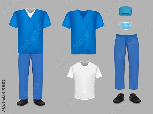 Fototapeta Medical uniform scrub set, vector isolated illustration