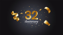 32nd Anniversary Celebration Gold Numbers With Dotted Halftone, Shadow And Sparkling Confetti. Modern Elegant Design With Black Background. For Wedding Party Event Decoration. Editable Vector EPS 10