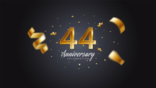 44th Anniversary Celebration Gold Numbers With Dotted Halftone, Shadow And Sparkling Confetti. Modern Elegant Design With Black Background. For Wedding Party Event Decoration. Editable Vector EPS 10