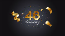 46th Anniversary Celebration Gold Numbers With Dotted Halftone, Shadow And Sparkling Confetti. Modern Elegant Design With Black Background. For Wedding Party Event Decoration. Editable Vector EPS 10