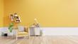 Leinwandbild Motiv Living room interior with fabric armchair ,lamp,book and plants on empty yellow wall background.